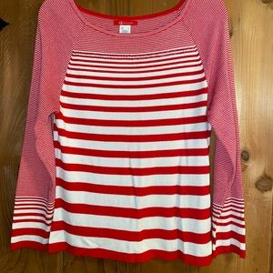 Anne Klein red and white striped thin sweater